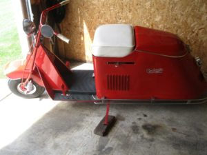 October 2018 | 1948 Cushman Series 50. Completely restored. New body, new fender, new seat, new carb, new paint, engine rebuilt, 600×6 tires. 2 speed trans.